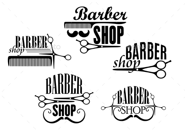 GraphicRiver Barber Shop Badges or Signs Set 9410000
