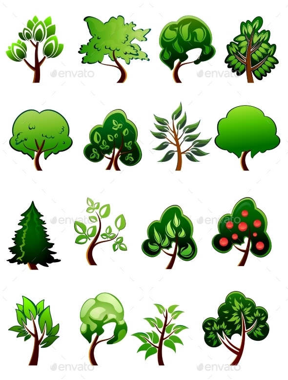 GraphicRiver Set of Cartoon Green Plants and Trees 9410038