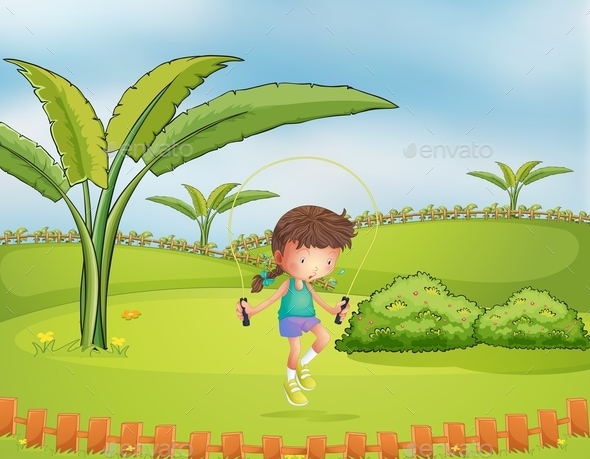 GraphicRiver Girl Jumping Rope in the Park 9410040