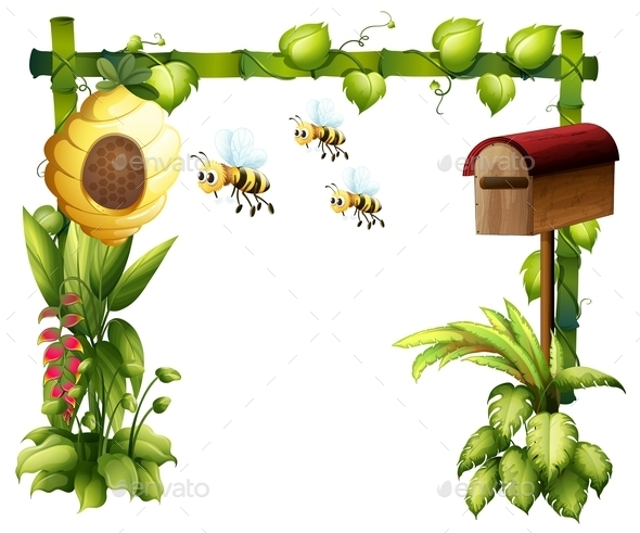 GraphicRiver Bees in the Garden with a Mailbox 9410139