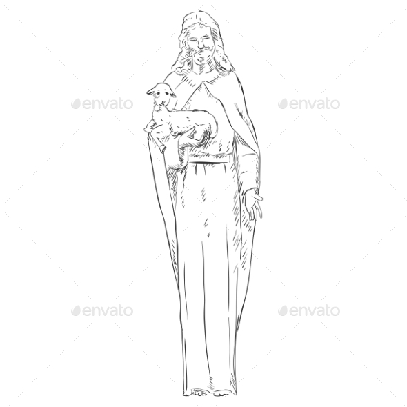 GraphicRiver Jesus with a Lamb 9410146