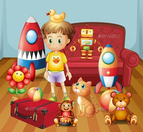 GraphicRiver Child Inside the House with His Toys