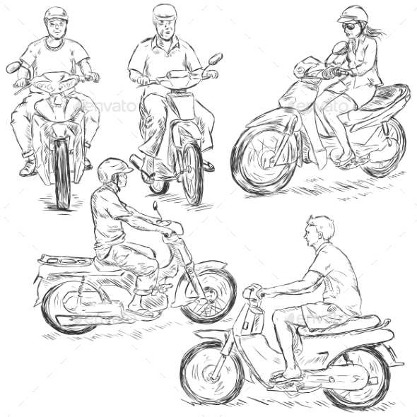 GraphicRiver Set of Sketch Riders on Motorbikes 9410165
