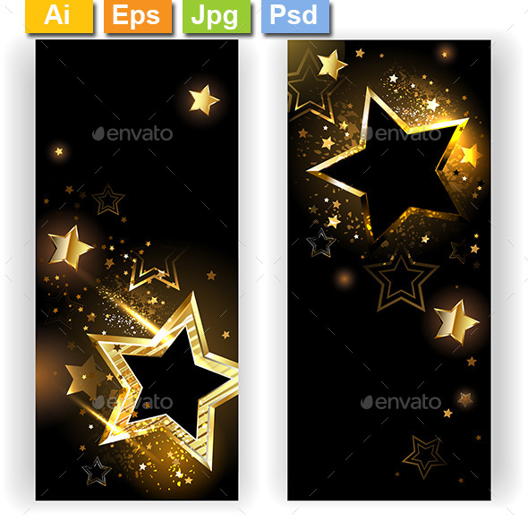GraphicRiver Two Banners with Golden Stars 9410166