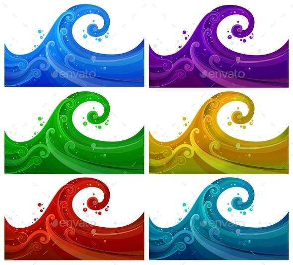 Six Colorful Waves
