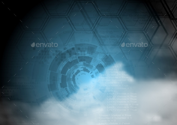 GraphicRiver Blue Technology Background on Cloudy Sky 9410465
