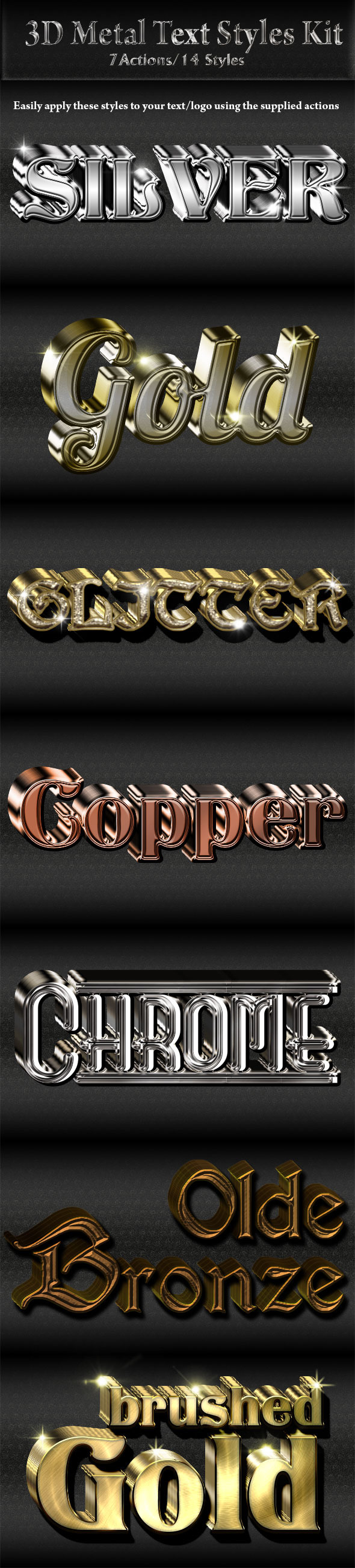 GraphicRiver 3D Metal Text Logo Styles Kit 9410770