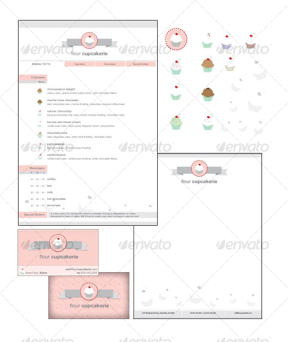 GraphicRiver Cupcake Shop Collateral 120532