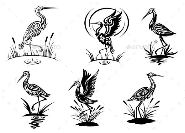 GraphicRiver Stork Birds 9411015