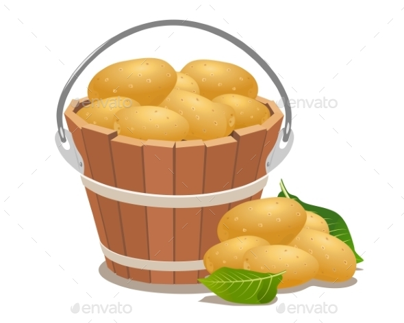 GraphicRiver Wood Bucket Full New Potatoes 9411228