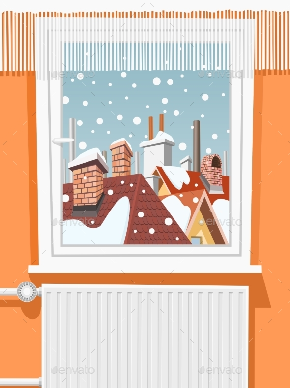 GraphicRiver Winter Scene Through Window Illustration 9411244
