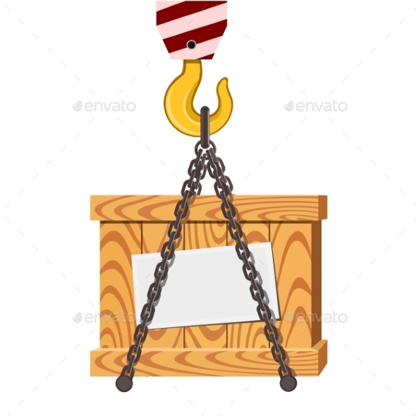 GraphicRiver Cargo Transportation Crane Hook and Wooden Box 9411334