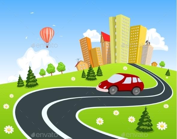 GraphicRiver Cityscape with Car 9411421