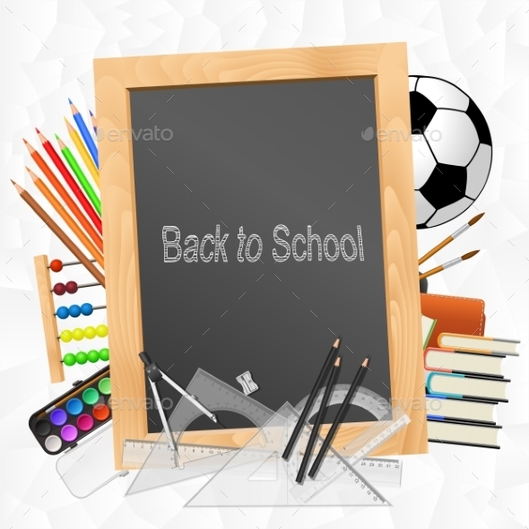 GraphicRiver School Supplies with Blackboard on Crumpled Paper 9411713