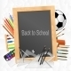 School Supplies with Blackboard on Crumpled Paper  - GraphicRiver Item for Sale