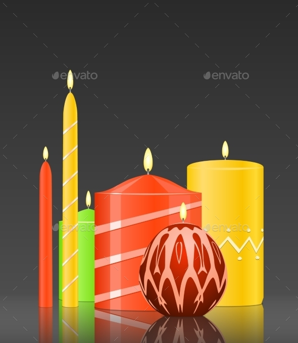 GraphicRiver Burning Candles on Glossy Dark Background 9411782