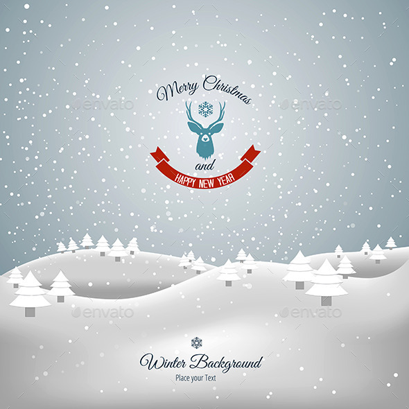 GraphicRiver Merry Christmas Landscape 9411819