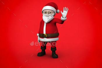 Cute cartoon santa claus against red background