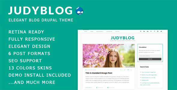 ThemeForest JudyBlog Elegant Blog Drupal Theme 9411981