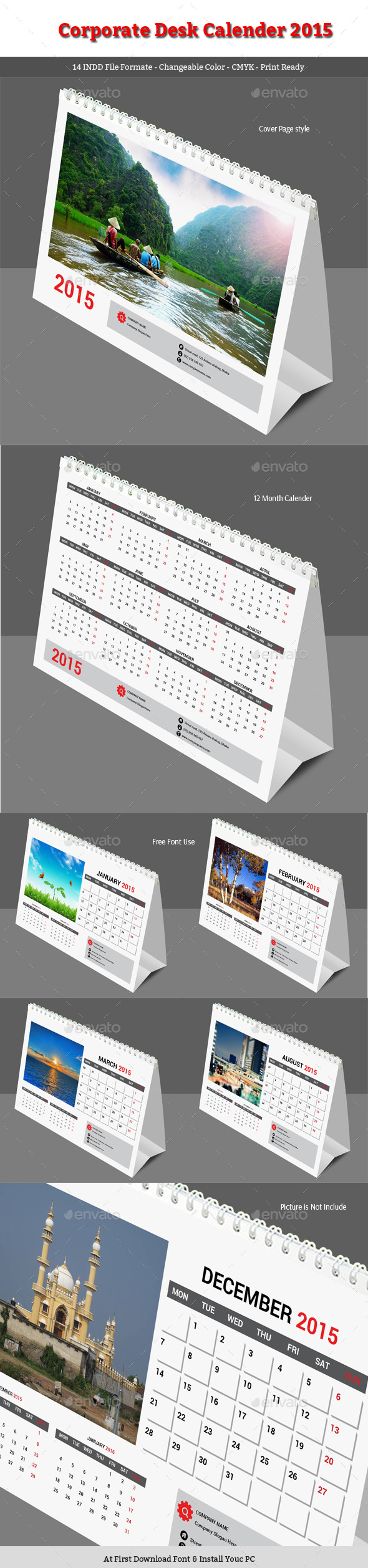 GraphicRiver Corporate Desk Calender 2015 9340301