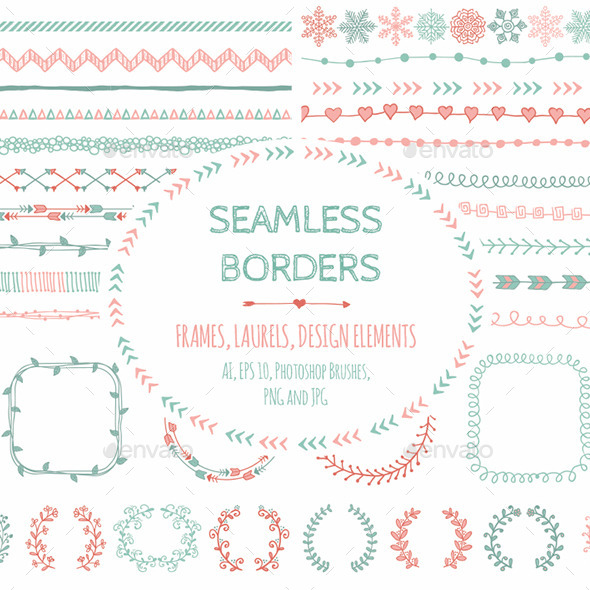 GraphicRiver Doodle Seamless Borders and Design Elements 9412076