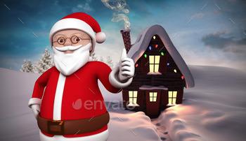 Cute cartoon santa claus against christmas house