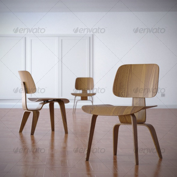 3DOcean Charles Eames DCW Dining Chair 1945 120554