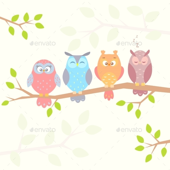 GraphicRiver Owls on Branch 9412146