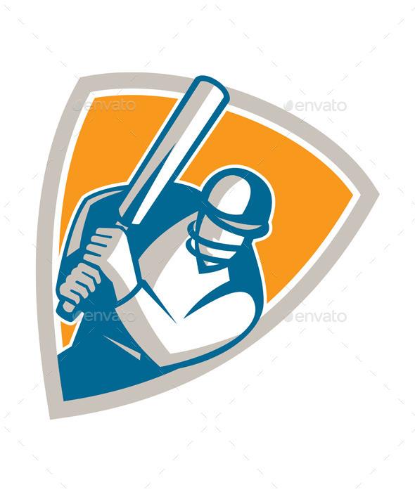 GraphicRiver Cricket Player Batsman Batting Shield Retro 9412231