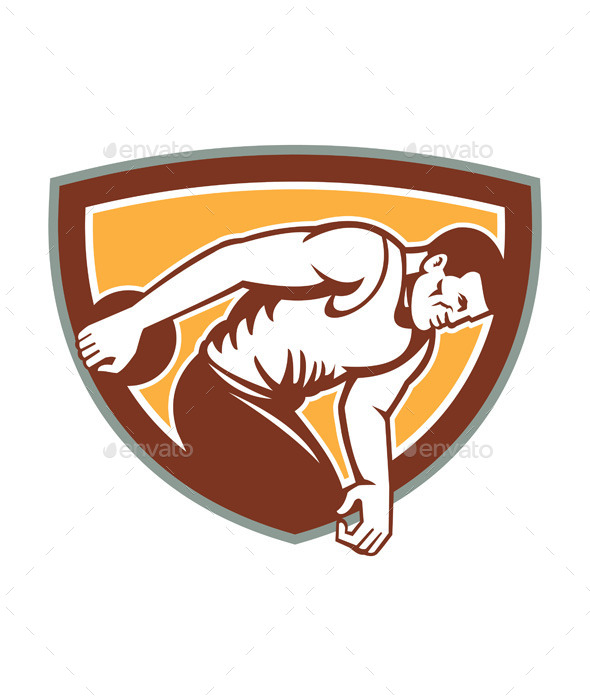GraphicRiver Discus Thrower Shield Retro 9412238