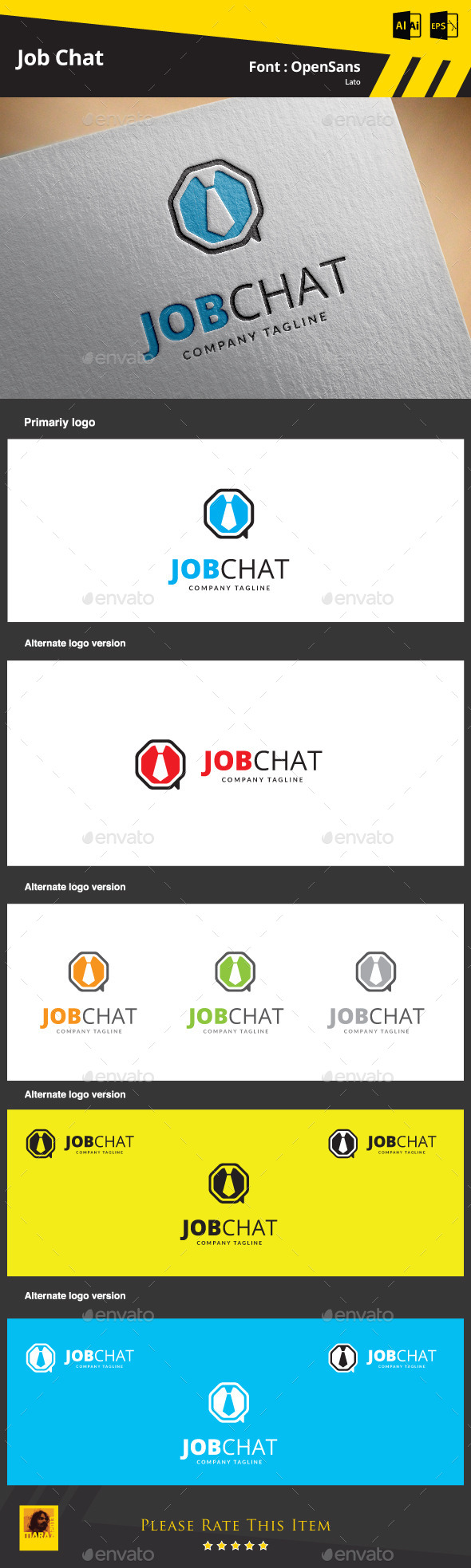 GraphicRiver Job Chat Logo Template 9412247