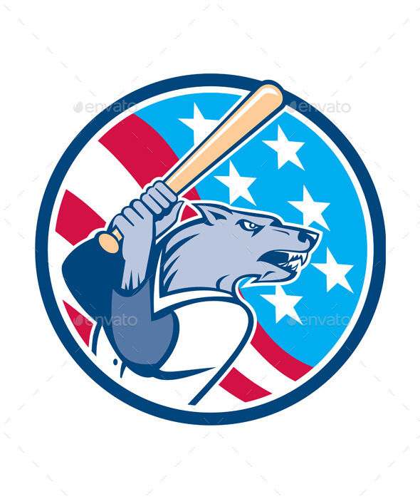 Wolf Baseball with Bat USA Stars Circle