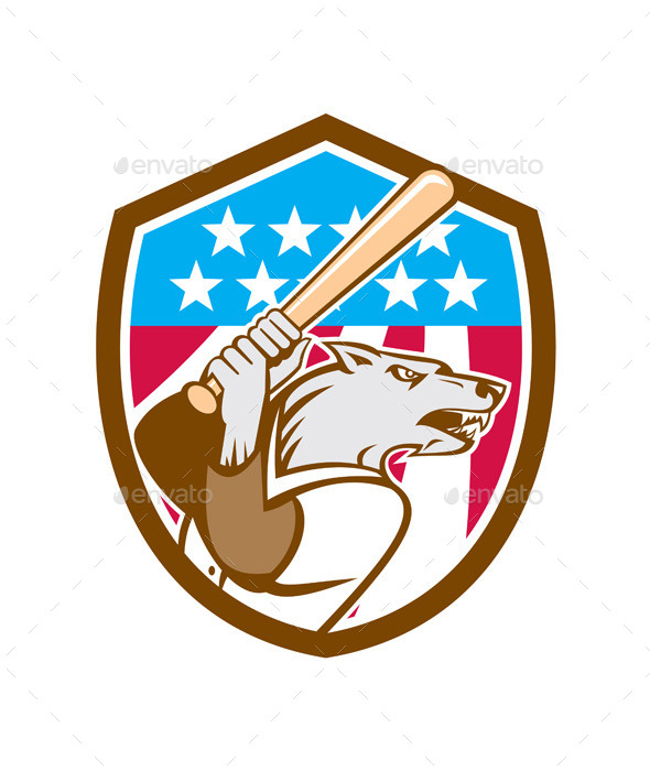 GraphicRiver Wolf Baseball with Bat USA Stars Shield 9412254