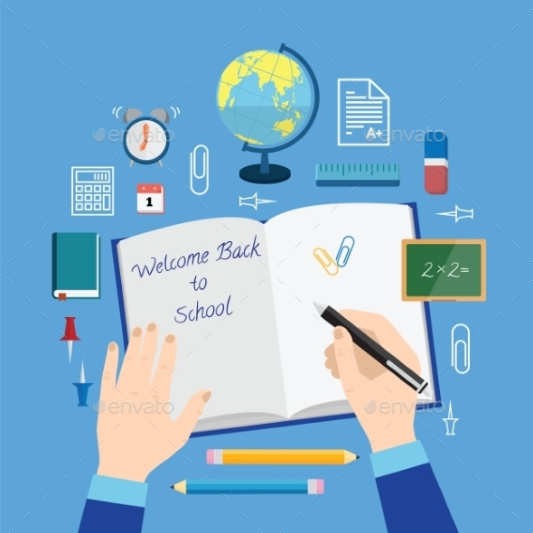 GraphicRiver Back to School Flat Style Vector Icon Set on Blue 9412335