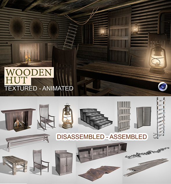3DOcean Wooden Hut Render Setup 9412350