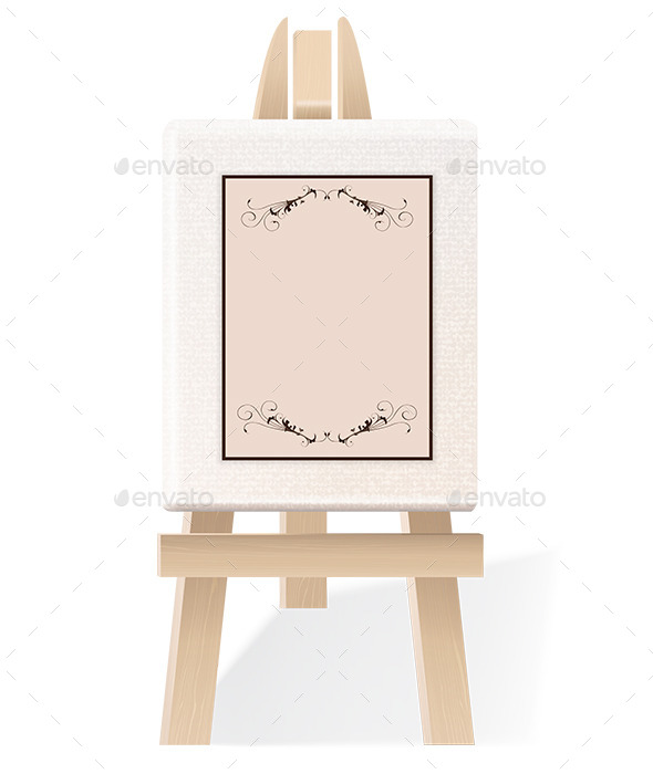 GraphicRiver Blank Paper on a Decorative Wooden Easel 9412348