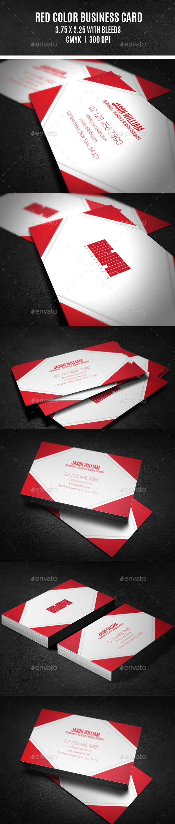 GraphicRiver Red Color Business Card 9412351