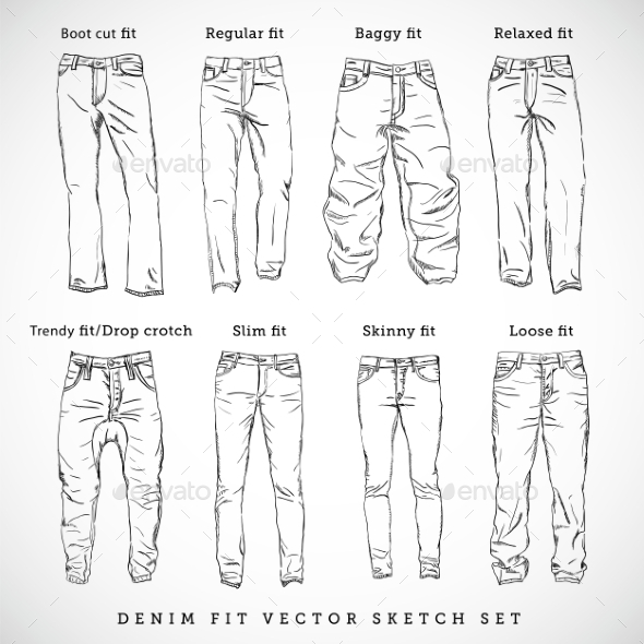 GraphicRiver Denim Fit Hand Drawn Vector Sketch Set 9412471