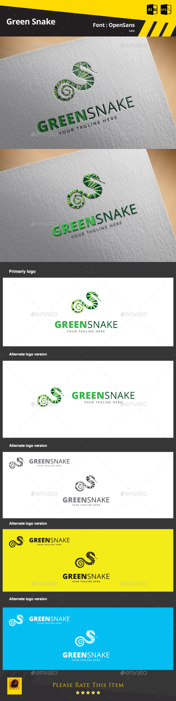 GraphicRiver Green Snake Logo Template 9412533