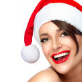 Happy Christmas Girl in Santa Hat. Beautiful Big Smile - PhotoDune Item for Sale