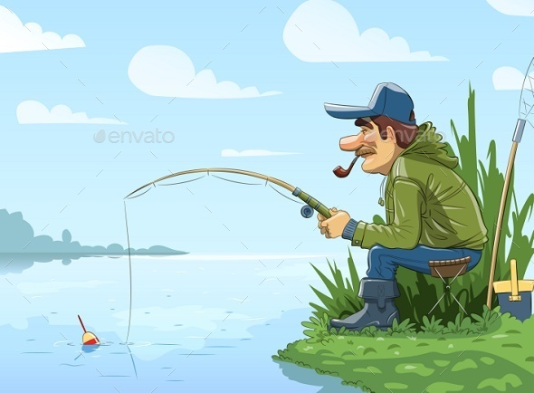 GraphicRiver Fisherman with Rod Fishing on River 9412957