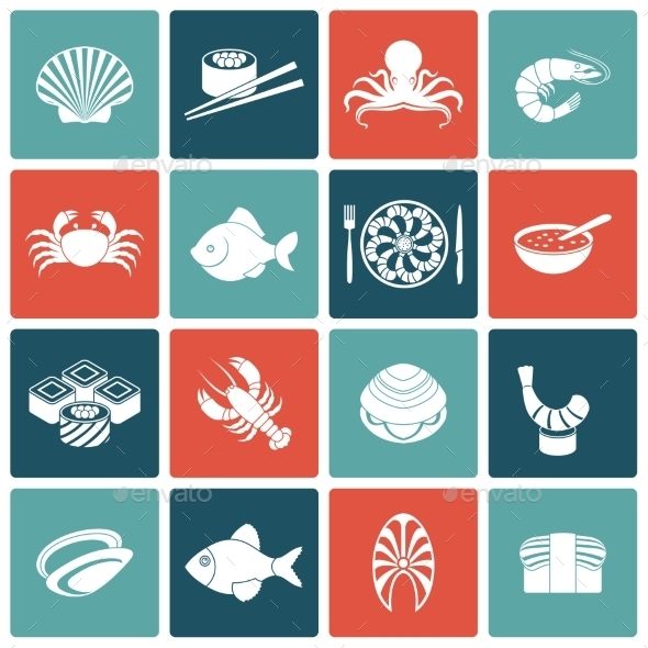 GraphicRiver Seafood Icons Set Flat 9413017