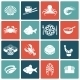 Seafood Icons Set Flat - GraphicRiver Item for Sale