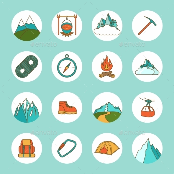 GraphicRiver Mountain Icons Flat 9413107