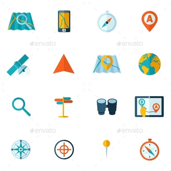 GraphicRiver Navigation Icon Flat Set 9413245