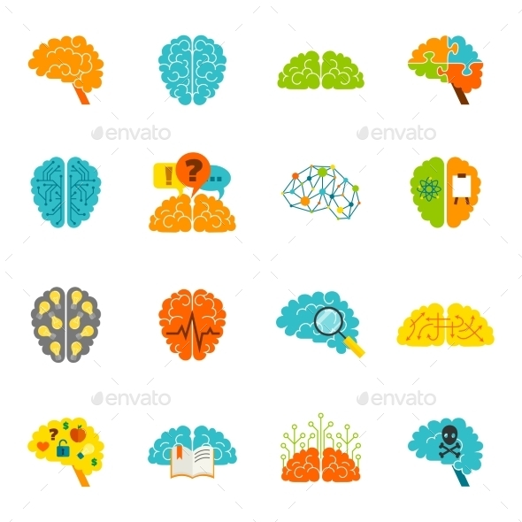 GraphicRiver Brain Icons Flat 9413267