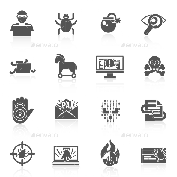 GraphicRiver Hacker Icons Black Set 9413346