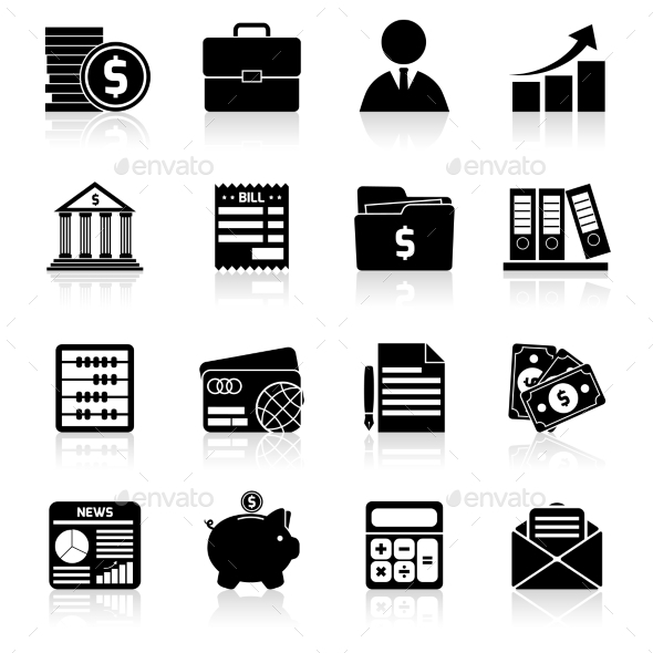 GraphicRiver Accounting Icons Set Black 9413432