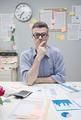 Pensive nerd businessman