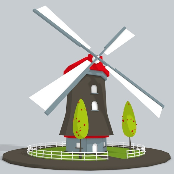 3D WindMill Low Poly - 3DOcean Item for Sale